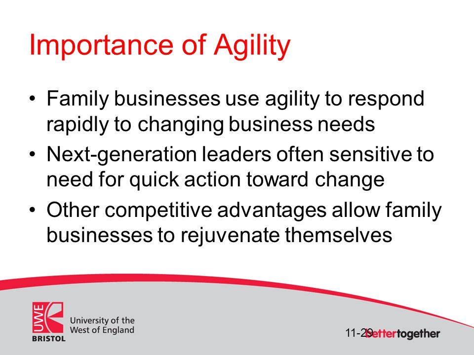 11-29 Importance of Agility Family businesses use agility to respond rapidly to changing business needs Next-generation leaders often sensitive to need for quick action toward change Other competitive advantages allow family businesses to rejuvenate themselves