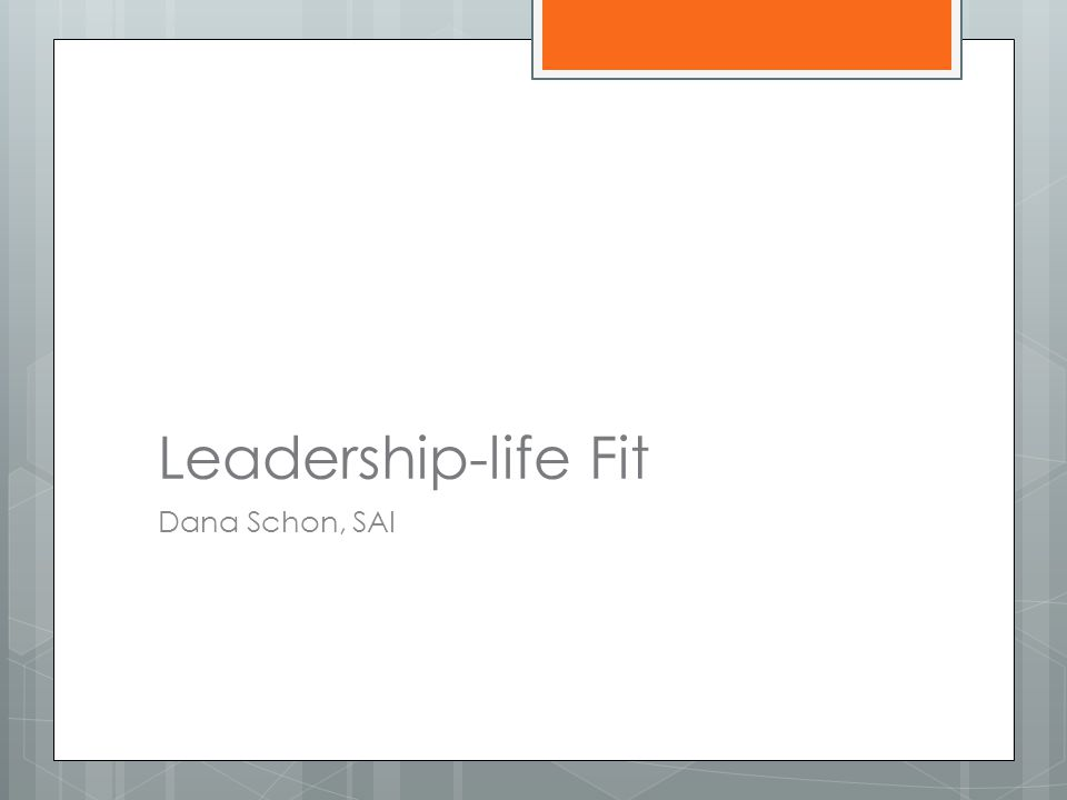 Leadership-life Fit Dana Schon, SAI