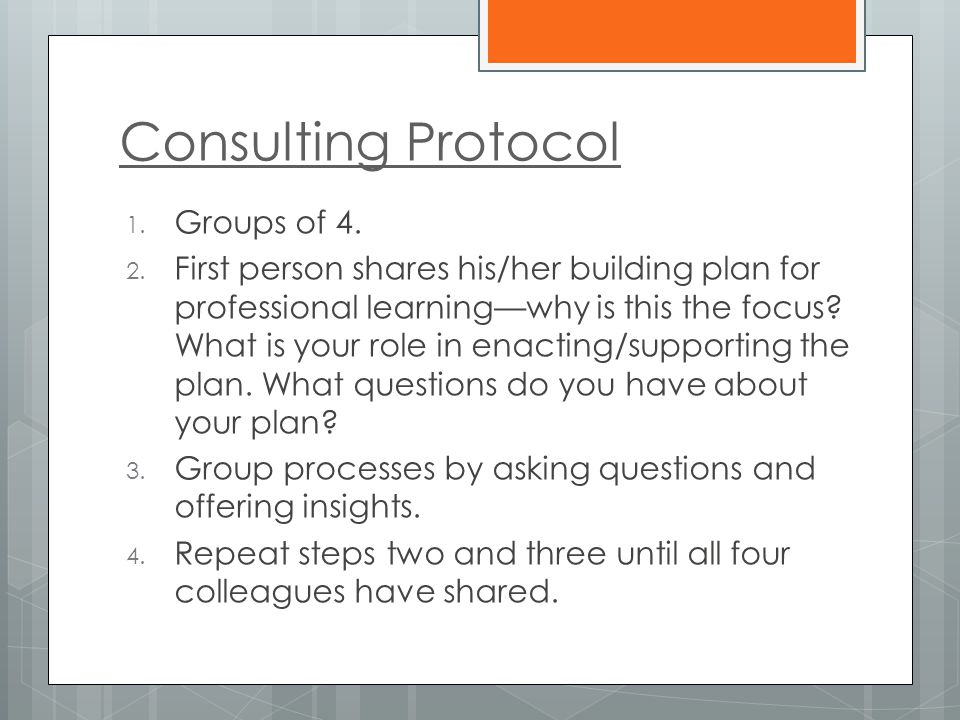 Consulting Protocol 1. Groups of 4. 2. First person shares his/her building plan for professional learning—why is this the focus? What is your role in