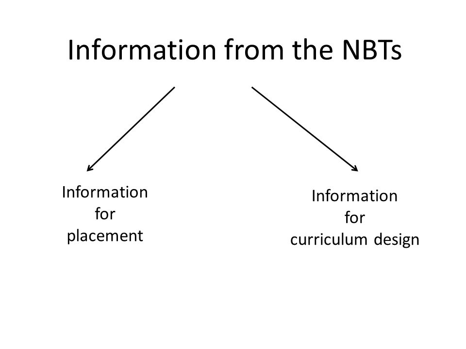 Information from the NBTs Information for placement Information for curriculum design