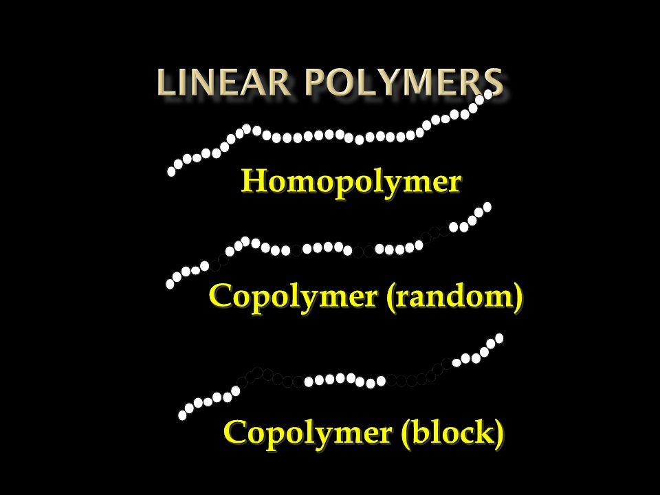 HomopolymerHomopolymer Copolymer (random) Copolymer (block)