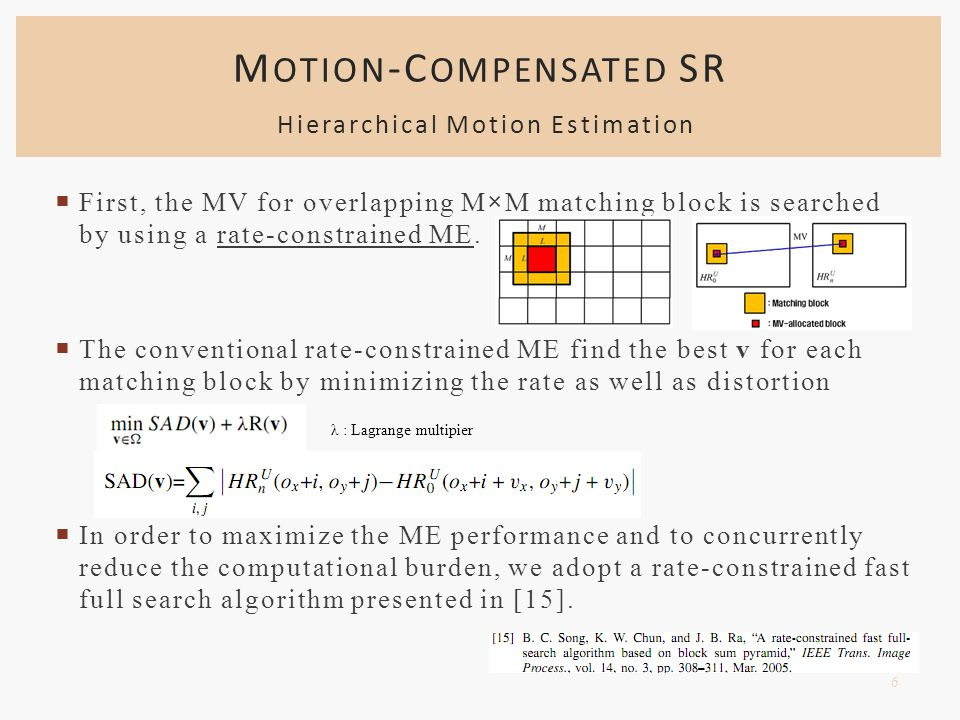  First, the MV for overlapping M×M matching block is searched by using a rate-constrained ME.