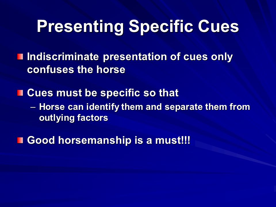 Presenting Specific Cues Indiscriminate presentation of cues only confuses the horse Cues must be specific so that –Horse can identify them and separate them from outlying factors Good horsemanship is a must!!!