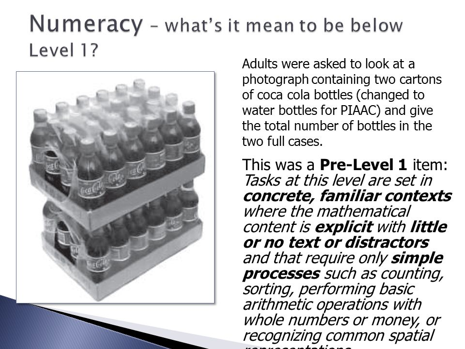Numeracy – what's it mean to be below Level 1.