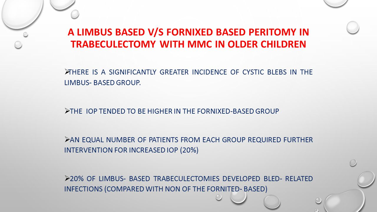 A LIMBUS BASED V/S FORNIXED BASED PERITOMY IN TRABECULECTOMY WITH MMC IN OLDER CHILDREN  THERE IS A SIGNIFICANTLY GREATER INCIDENCE OF CYSTIC BLEBS IN THE LIMBUS- BASED GROUP.