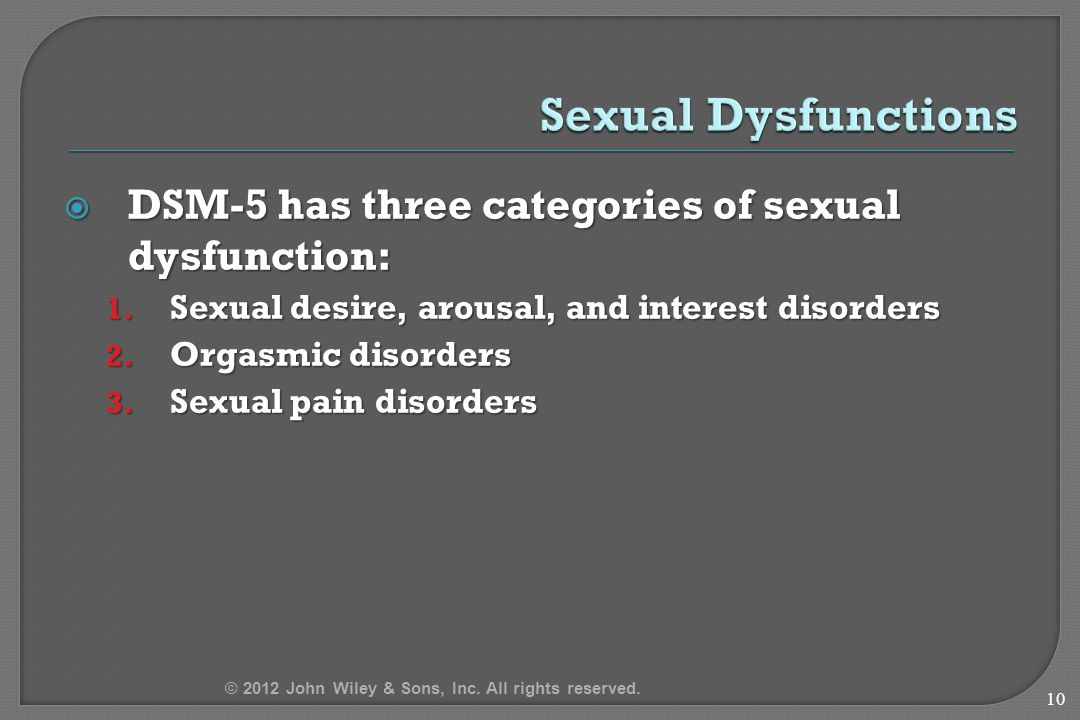 DSM-5 has three categories of sexual dysfunction: 1.