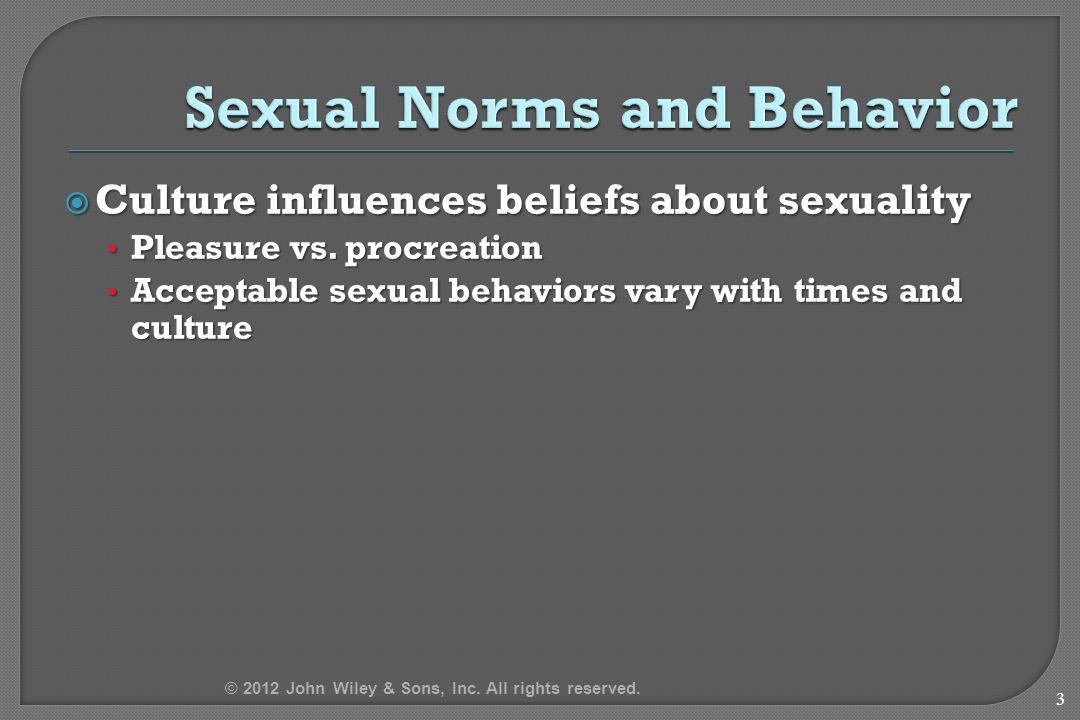  Culture influences beliefs about sexuality Pleasure vs.