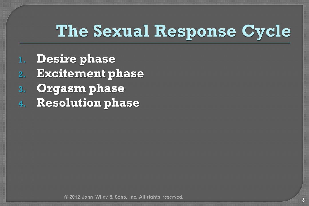 1. Desire phase 2. Excitement phase 3. Orgasm phase 4. Resolution phase 8 © 2012 John Wiley & Sons, Inc. All rights reserved.
