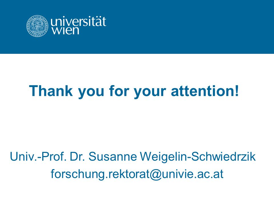 Thank you for your attention. Univ.-Prof. Dr.