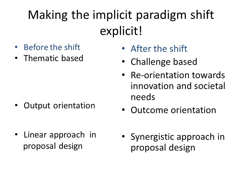 Making the implicit paradigm shift explicit! Before the shift Thematic based Output orientation Linear approach in proposal design After the shift Cha