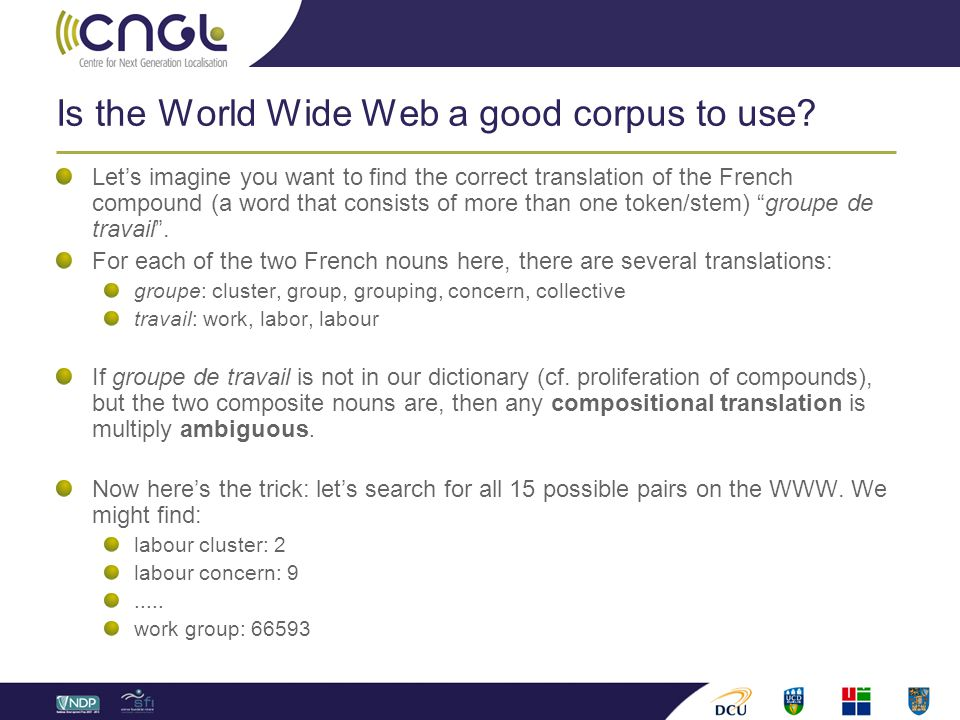 Is the World Wide Web a good corpus to use? Let's imagine you want to find the correct translation of the French compound (a word that consists of mor