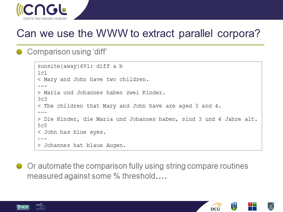 Can we use the WWW to extract parallel corpora.