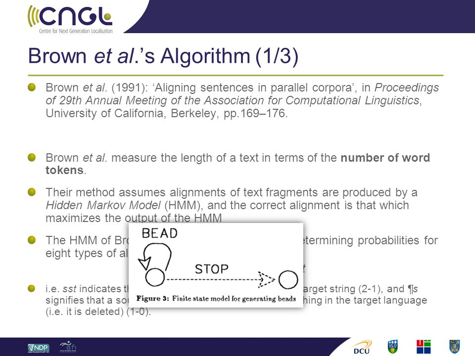 Brown et al.'s Algorithm (1/3) Brown et al. (1991): 'Aligning sentences in parallel corpora', in Proceedings of 29th Annual Meeting of the Association
