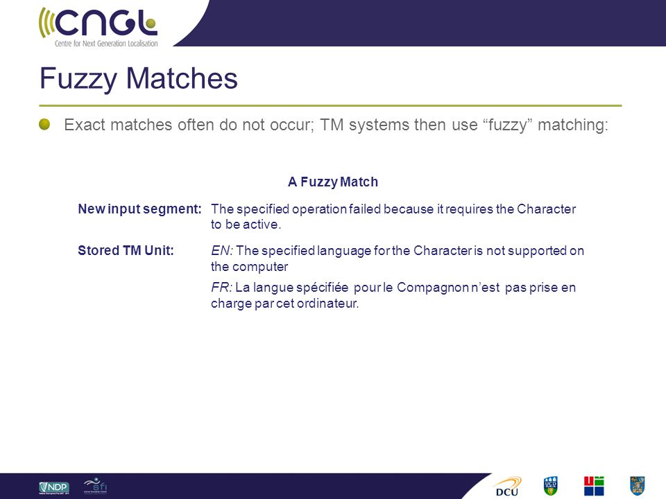 Fuzzy Matches Exact matches often do not occur; TM systems then use fuzzy matching: A Fuzzy Match New input segment: The specified operation failed because it requires the Character to be active.