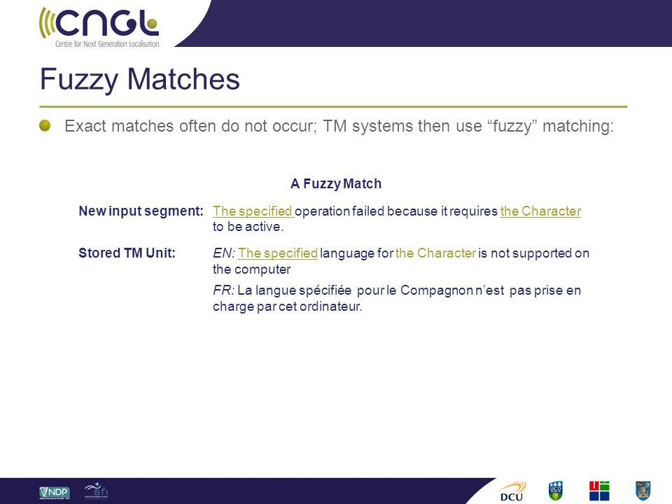 "Fuzzy Matches Exact matches often do not occur; TM systems then use ""fuzzy"" matching: A Fuzzy Match New input segment: The specified operation failed"