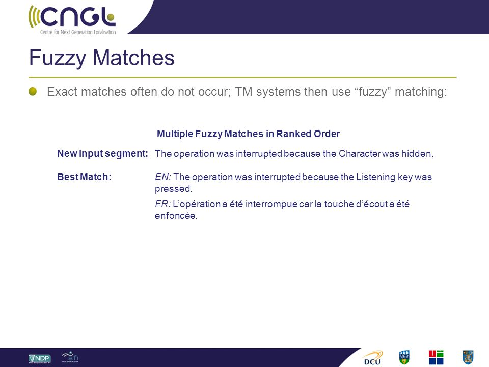 Fuzzy Matches Exact matches often do not occur; TM systems then use fuzzy matching: Multiple Fuzzy Matches in Ranked Order New input segment: The operation was interrupted because the Character was hidden.