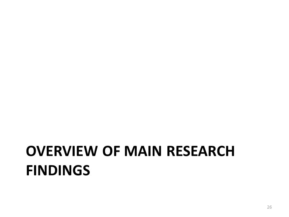 OVERVIEW OF MAIN RESEARCH FINDINGS 26