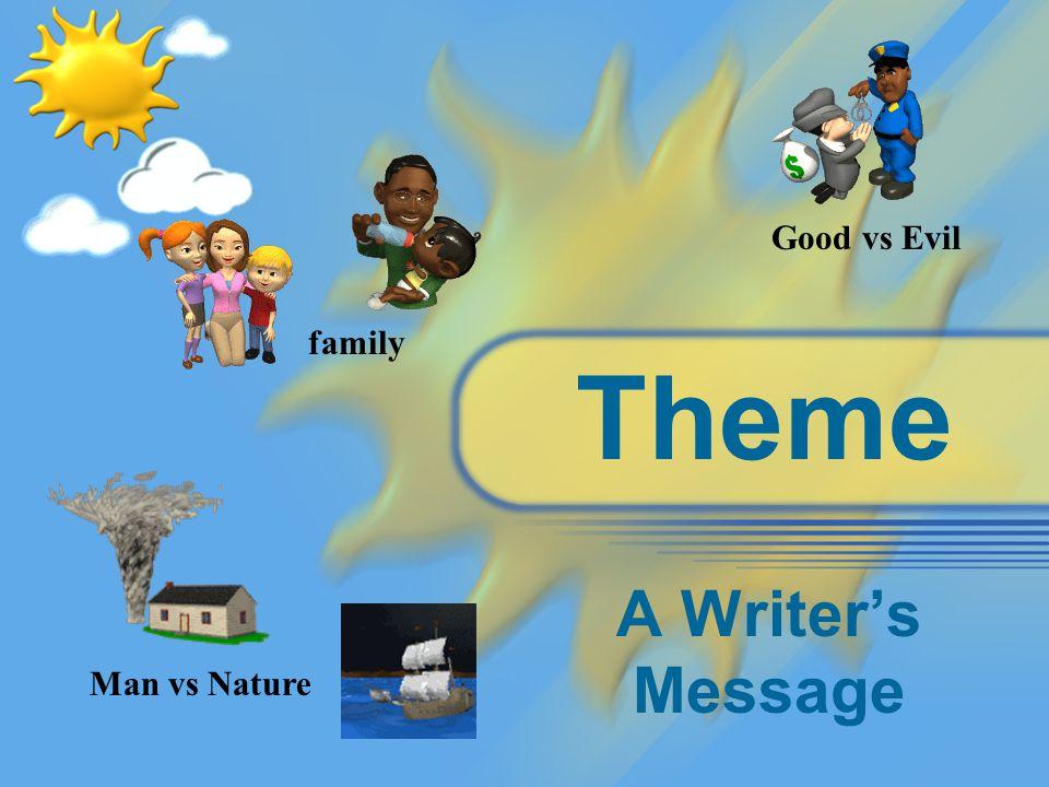 Theme A Writer's Message Man vs Nature Good vs Evil family