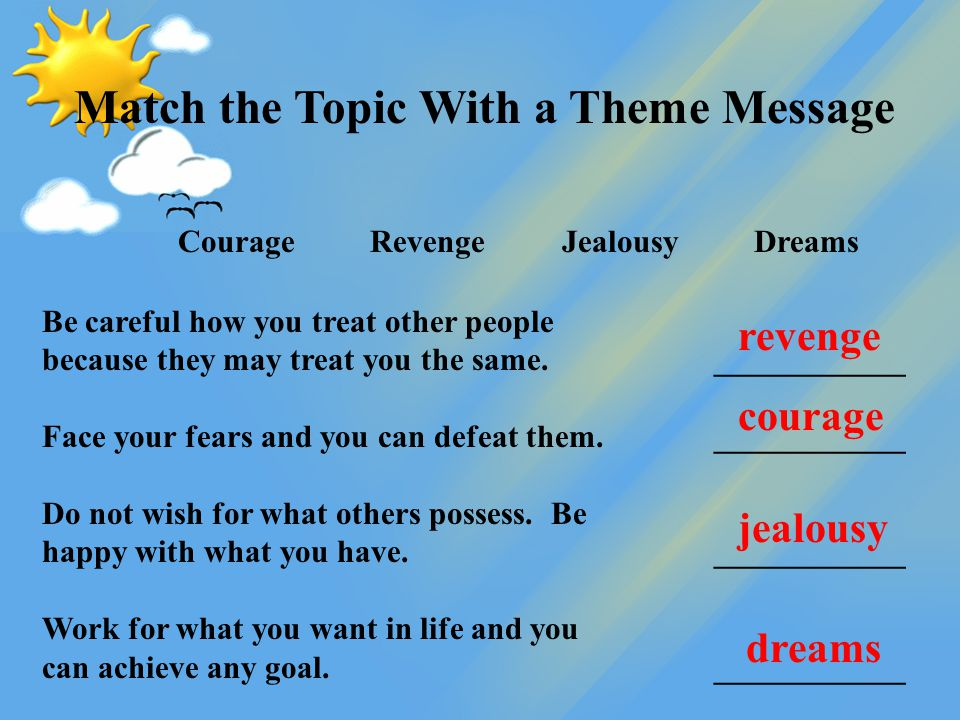 Match the Topic With a Theme Message CourageRevengeJealousyDreams Be careful how you treat other people because they may treat you the same. _________