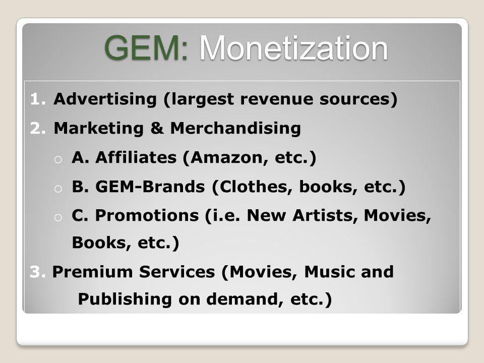 GEM: Monetization 1. Advertising (largest revenue sources) 2.