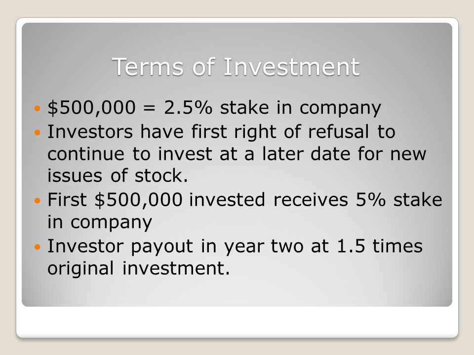 Terms of Investment $500,000 = 2.5% stake in company Investors have first right of refusal to continue to invest at a later date for new issues of stock.