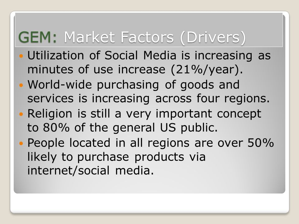 GEM: Market Factors (Drivers) Utilization of Social Media is increasing as minutes of use increase (21%/year). World-wide purchasing of goods and serv