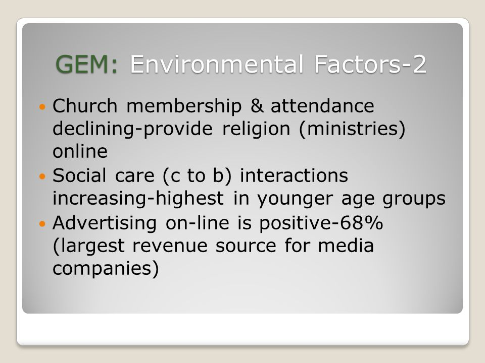 GEM: Environmental Factors-2 Church membership & attendance declining-provide religion (ministries) online Social care (c to b) interactions increasing-highest in younger age groups Advertising on-line is positive-68% (largest revenue source for media companies)