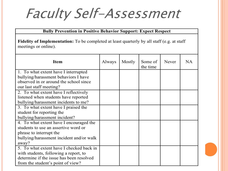 Faculty Self-Assessment