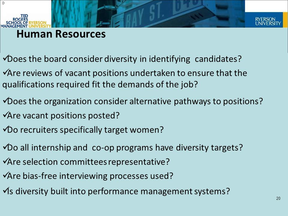 D Does the board consider diversity in identifying candidates.