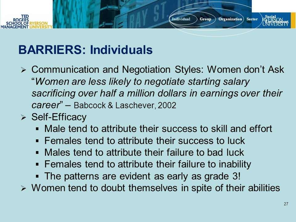 BARRIERS: Individuals  Communication and Negotiation Styles: Women don't Ask Women are less likely to negotiate starting salary sacrificing over half a million dollars in earnings over their career – Babcock & Laschever, 2002  Self-Efficacy  Male tend to attribute their success to skill and effort  Females tend to attribute their success to luck  Males tend to attribute their failure to bad luck  Females tend to attribute their failure to inability  The patterns are evident as early as grade 3.