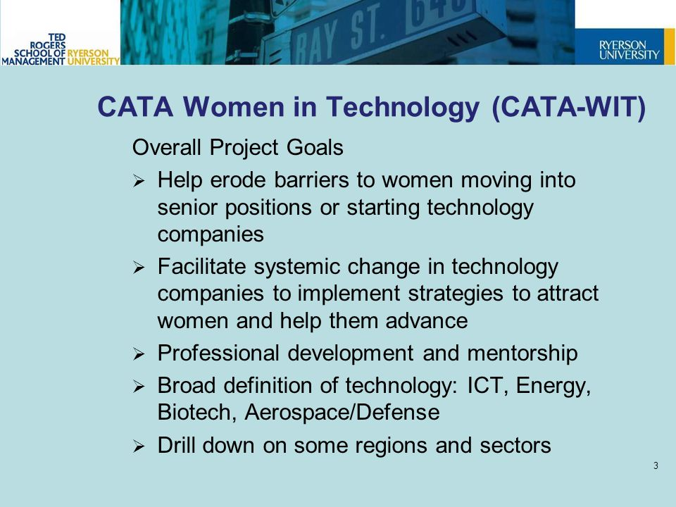 CATA Women in Technology (CATA-WIT) Overall Project Goals  Help erode barriers to women moving into senior positions or starting technology companies  Facilitate systemic change in technology companies to implement strategies to attract women and help them advance  Professional development and mentorship  Broad definition of technology: ICT, Energy, Biotech, Aerospace/Defense  Drill down on some regions and sectors 3