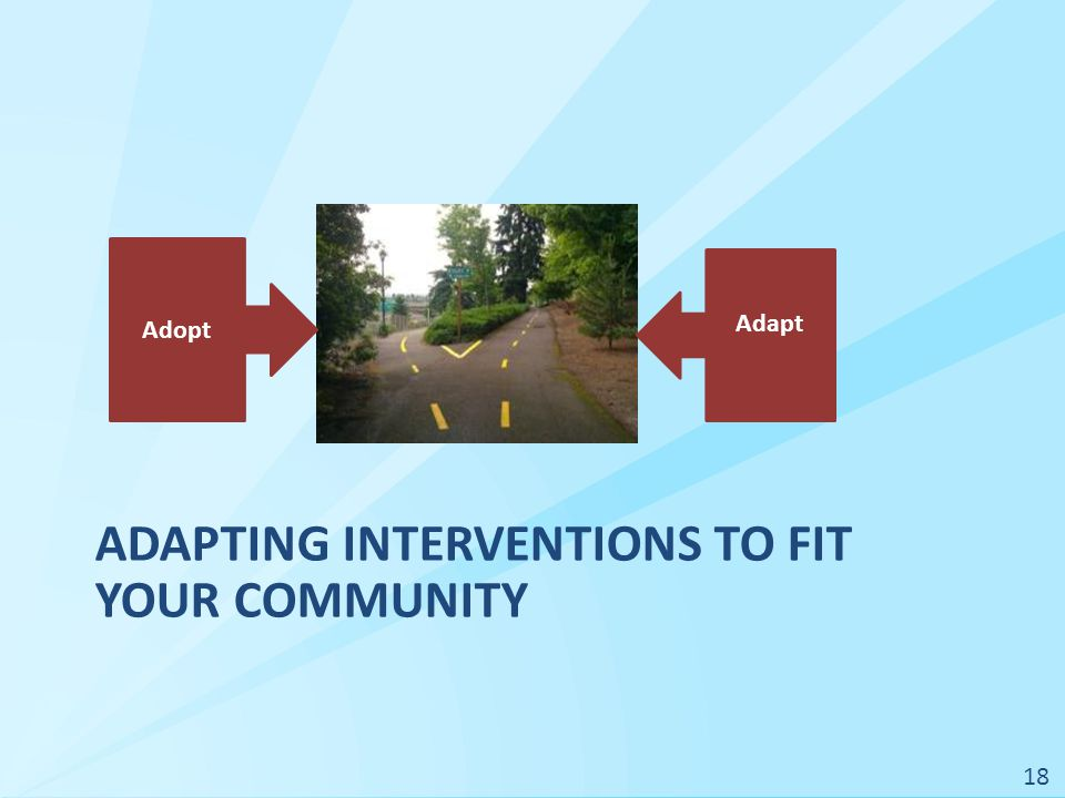 ADAPTING INTERVENTIONS TO FIT YOUR COMMUNITY Adopt Adapt 18