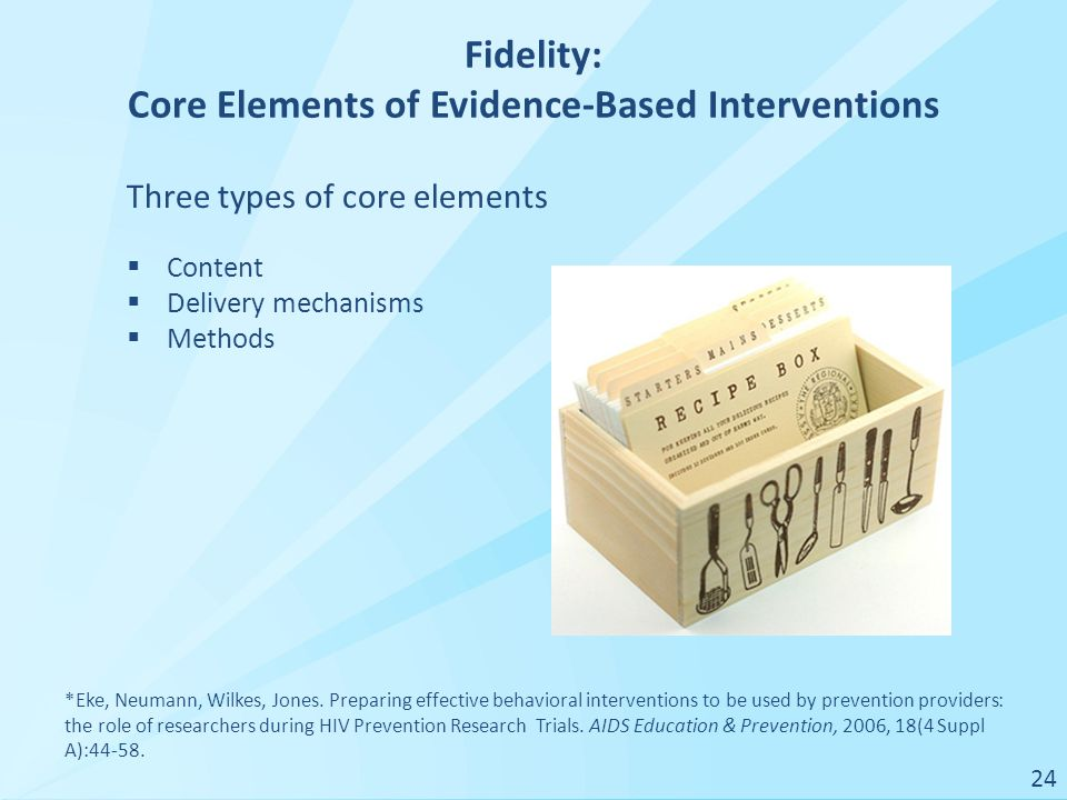 Fidelity: Core Elements of Evidence-Based Interventions *Eke, Neumann, Wilkes, Jones.