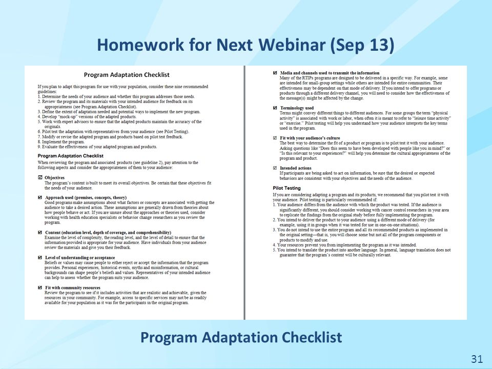 Homework for Next Webinar (Sep 13) 31 Program Adaptation Checklist