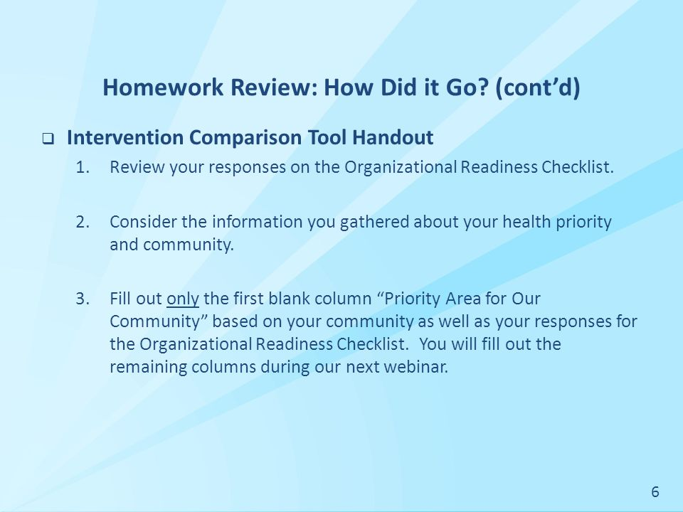 Homework Review: How Did it Go.