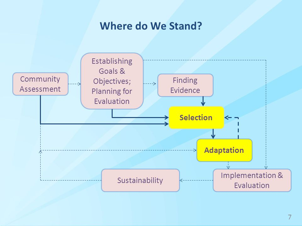 Community Assessment Implementation & Evaluation Establishing Goals & Objectives; Planning for Evaluation Finding Evidence Selection Adaptation Where do We Stand.