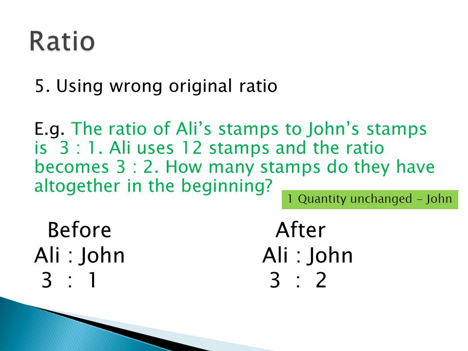 5. Using wrong original ratio E.g. The ratio of Ali's stamps to John's stamps is 3 : 1.