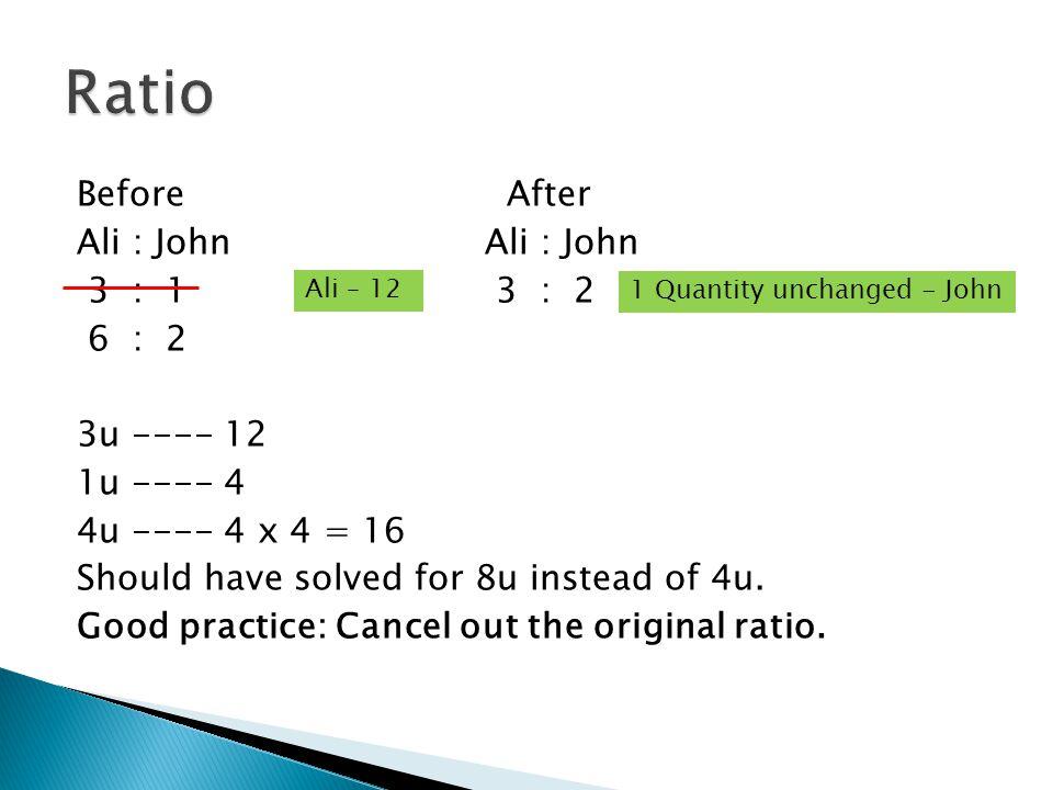 Before AfterAli : John 3 : 1 3 : 2 6 : 2 3u ---- 12 1u ---- 4 4u ---- 4 x 4 = 16 Should have solved for 8u instead of 4u. Good practice: Cancel out th