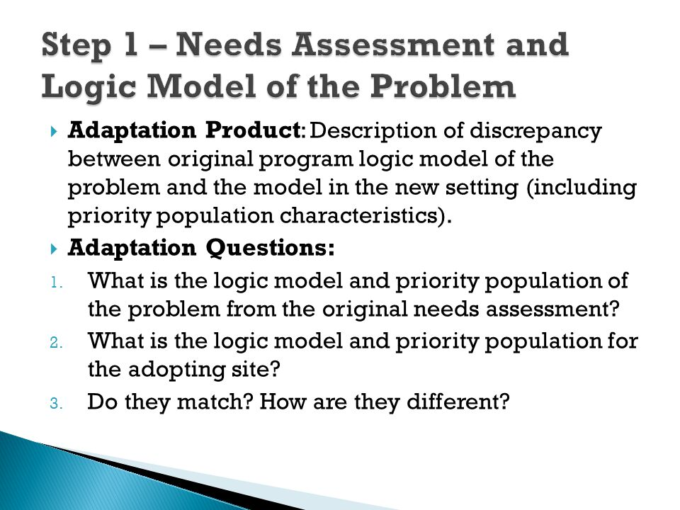  Adaptation Product : Description of discrepancy between original program logic model of the problem and the model in the new setting (including prio