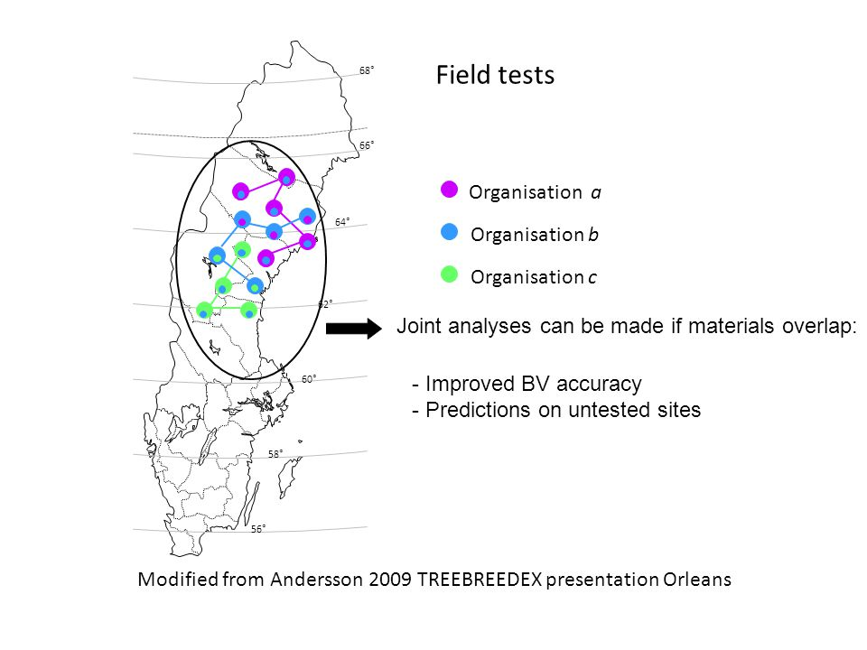 Organisation a Organisation b Organisation c 66° 68° 64° 62° 60° 58° 56° Joint analyses can be made if materials overlap: - Improved BV accuracy - Predictions on untested sites Modified from Andersson 2009 TREEBREEDEX presentation Orleans Field tests