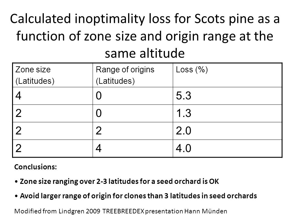 Calculated inoptimality loss for Scots pine as a function of zone size and origin range at the same altitude Zone size (Latitudes) Range of origins (Latitudes) Loss (%) 405.3 201.3 222.0 244.0 Conclusions: Zone size ranging over 2-3 latitudes for a seed orchard is OK Avoid larger range of origin for clones than 3 latitudes in seed orchards Modified from Lindgren 2009 TREEBREEDEX presentation Hann Münden