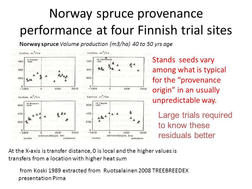 Norway spruce provenance performance at four Finnish trial sites At the X-axis is transfer distance, 0 is local and the higher values is transfers from a location with higher heat sum from Koski 1989 extracted from Ruotsalainen 2008 TREEBREEDEX presentation Pirna Norway spruce Volume production (m3/ha) 40 to 50 yrs age Stands seeds vary among what is typical for the provenance origin in an usually unpredictable way.