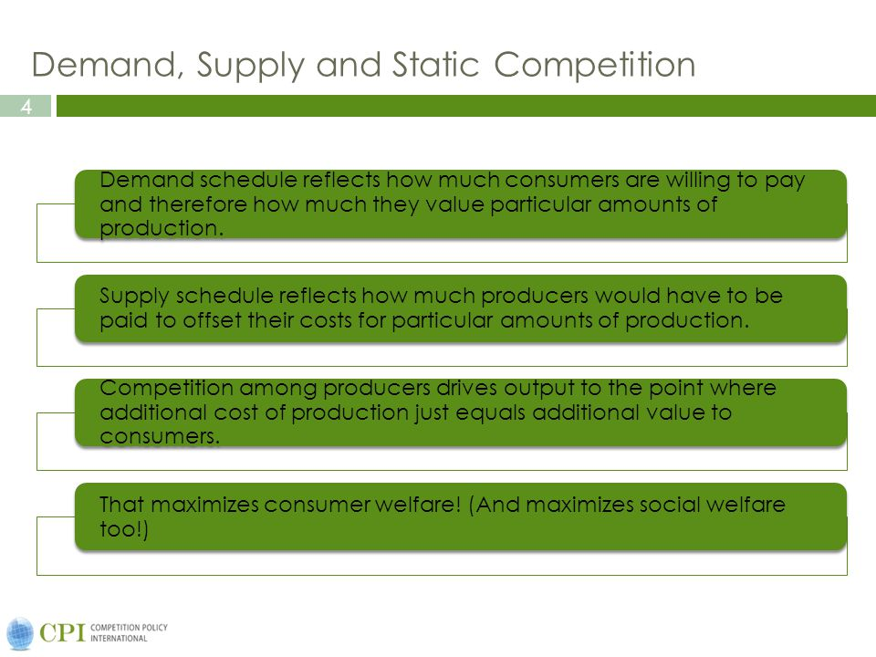 4 Demand, Supply and Static Competition Demand schedule reflects how much consumers are willing to pay and therefore how much they value particular amounts of production.
