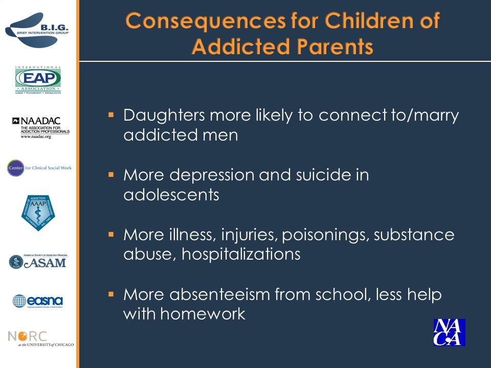  Daughters more likely to connect to/marry addicted men  More depression and suicide in adolescents  More illness, injuries, poisonings, substance abuse, hospitalizations  More absenteeism from school, less help with homework