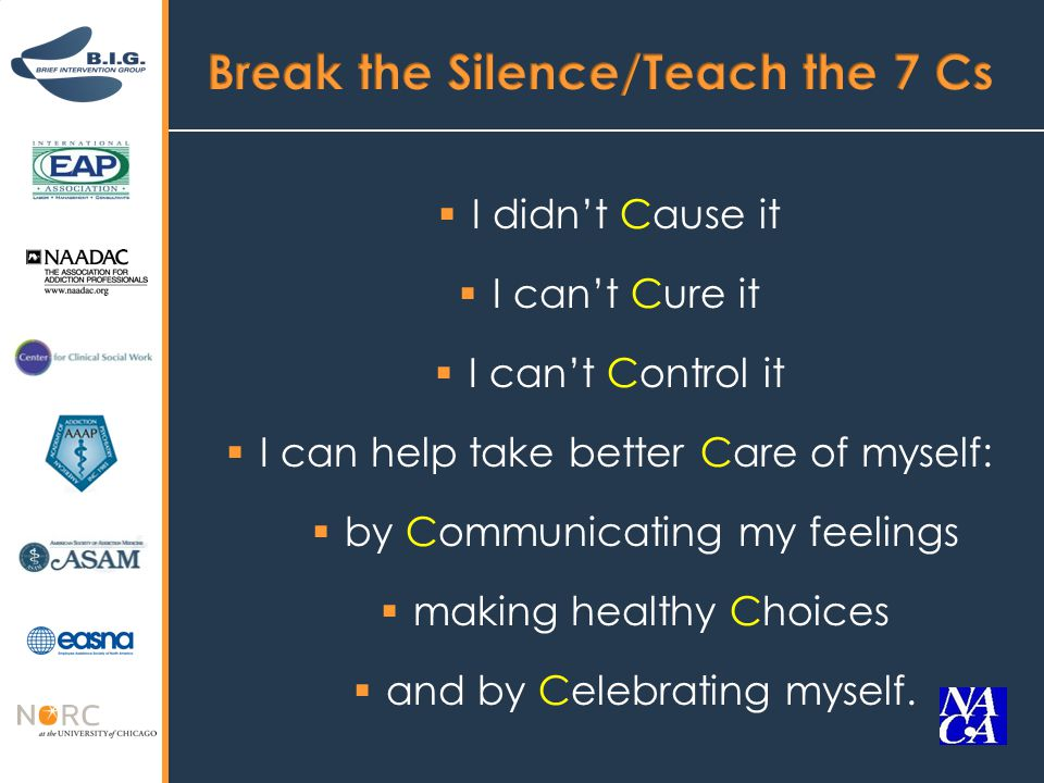  I didn't Cause it  I can't Cure it  I can't Control it  I can help take better Care of myself:  by Communicating my feelings  making healthy Choices  and by Celebrating myself.