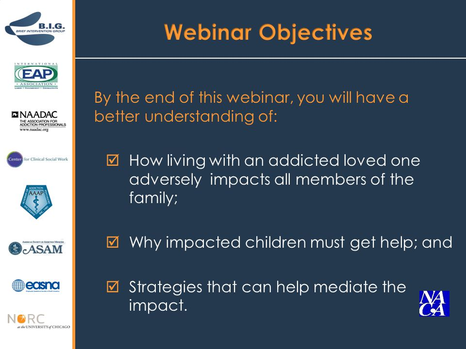 By the end of this webinar, you will have a better understanding of:  How living with an addicted loved one adversely impacts all members of the family;  Why impacted children must get help; and  Strategies that can help mediate the impact.