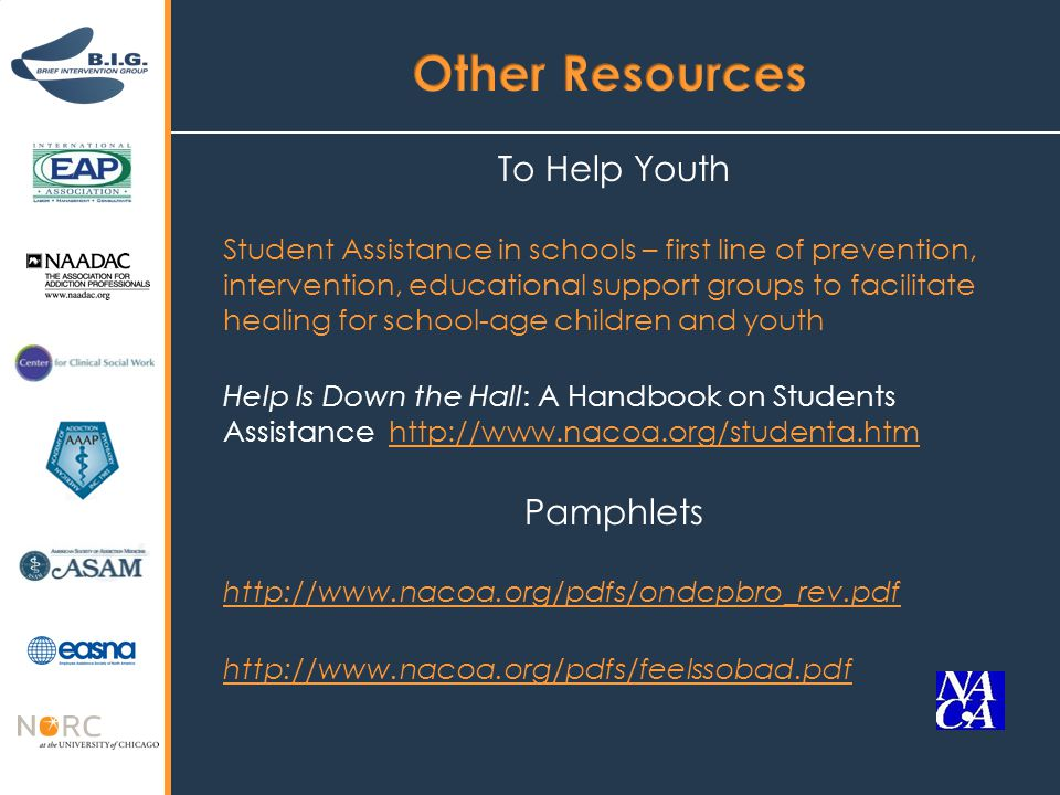 To Help Youth Student Assistance in schools – first line of prevention, intervention, educational support groups to facilitate healing for school-age children and youth Help Is Down the Hall: A Handbook on Students Assistance http://www.nacoa.org/studenta.htmhttp://www.nacoa.org/studenta.htm Pamphlets http://www.nacoa.org/pdfs/ondcpbro_rev.pdf http://www.nacoa.org/pdfs/feelssobad.pdf