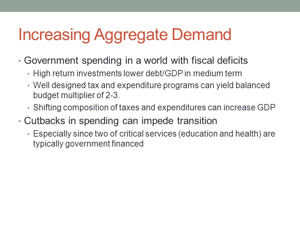 Increasing Aggregate Demand Government spending in a world with fiscal deficits High return investments lower debt/GDP in medium term Well designed tax and expenditure programs can yield balanced budget multiplier of 2-3.