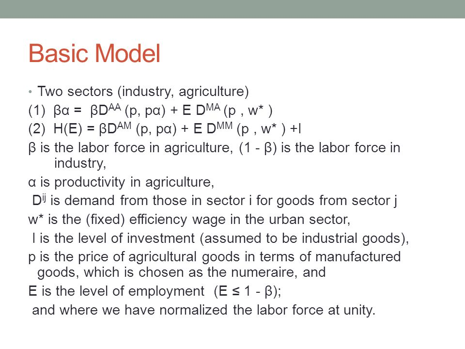 Basic Model Two sectors (industry, agriculture) (1) βα = βD AA (p, pα) + E D MA (p, w* ) (2) H(E) = βD AM (p, pα) + E D MM (p, w* ) +I β is the labor force in agriculture, (1 - β) is the labor force in industry, α is productivity in agriculture, D ij is demand from those in sector i for goods from sector j w* is the (fixed) efficiency wage in the urban sector, I is the level of investment (assumed to be industrial goods), p is the price of agricultural goods in terms of manufactured goods, which is chosen as the numeraire, and E is the level of employment (E ≤ 1 - β); and where we have normalized the labor force at unity.
