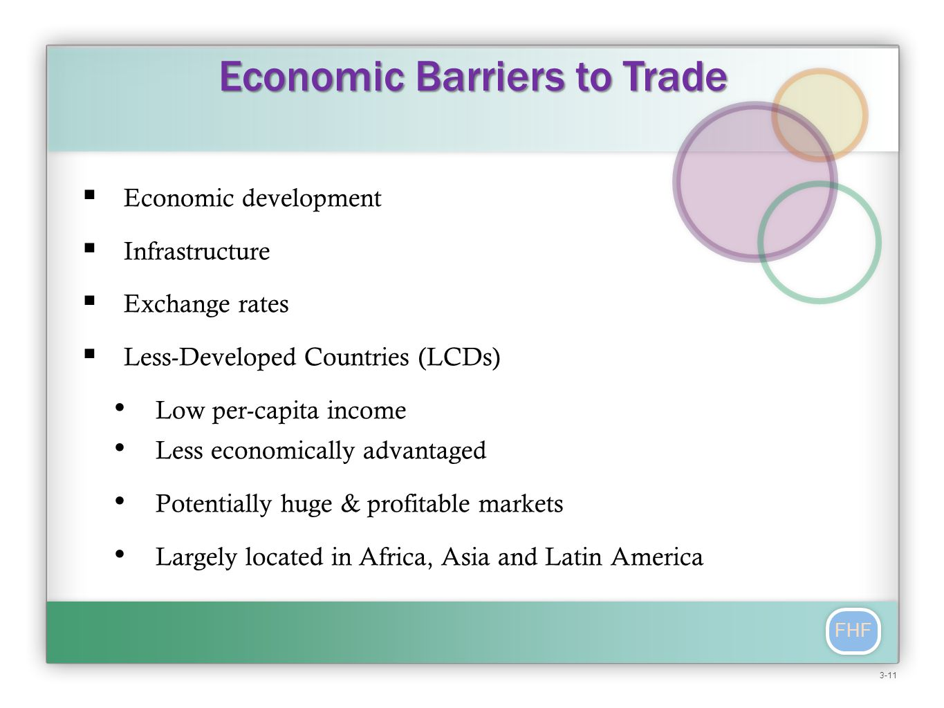 FHF  Economic development  Infrastructure  Exchange rates  Less-Developed Countries (LCDs) Low per-capita income Less economically advantaged Potentially huge & profitable markets Largely located in Africa, Asia and Latin America Economic Barriers to Trade 3-11